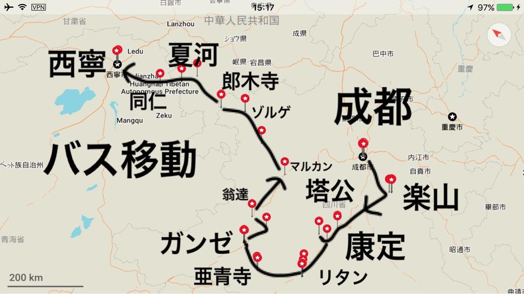 東チベットの地図