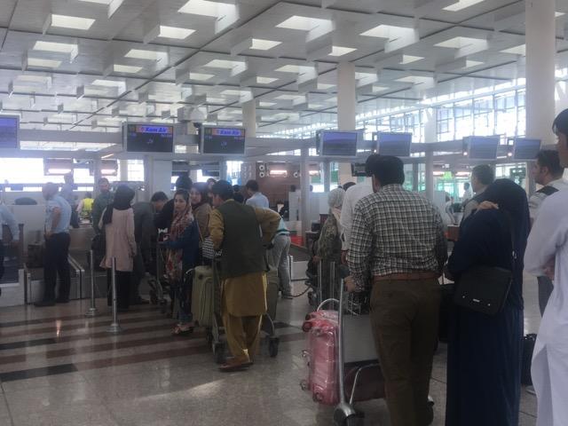 カーム航空チェックインカウンター@イスラマバード国際空港